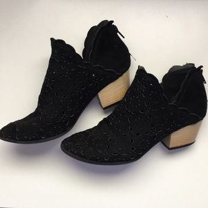 Qupid black cutout ankle boots